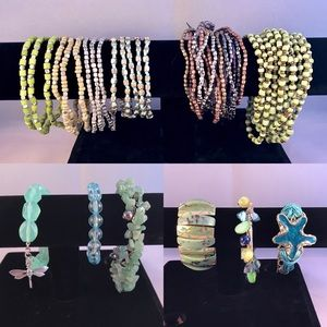 Jewelry - 22 Bracelets - Aqua Green Brown Colors Assortment